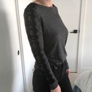 Reitmans Long Sleeved Top with Black Lace